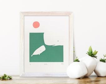 Whale art, Baby whale print, New baby gift, Newborn gift, Ocean art, Gifts for mum, Animal art, Original art, Screenprint, Birthday gift