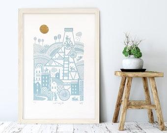 South Crofty, Cornwall art, Cornish tin mine, Handprinted, Bunny art, Original art, Screenprint, Light blue art, Cornwall, Birthday gift