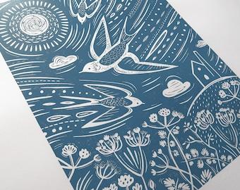 Summer meadow art, Bird art, Swallows print, light blue linocut, handprinted, bird linocut, Cornwall art, Countryside art, Bird pattern, Art