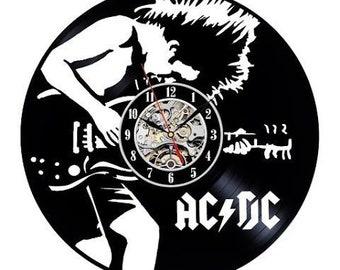 Wooden Wall Clock AC DC Highway to Hell Rock Band wood Guitar Handmade art gift