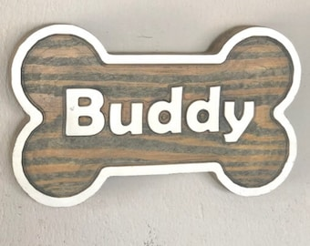 Perfect signs for Gift Custom Name with Paw and Ribbon Upgraded Personalized Dog Bone The Nicest Ornament For Home Dog House Wooden Sign Decor