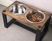 Raised Dog Bowl, Personalized Pet, Dog Feeder, Handmade, Pet Feeder