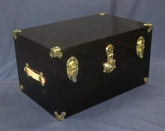 Brass Hardware 28 inches Wide x 18 inches deep x 16 inches high Flat-Top Clear Acrylic Trunk