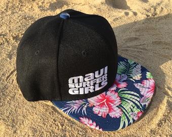 Adult Flatbrim Snapback Hat Blue Tropical Floral Embroidered Maui Surfer Girls Logo