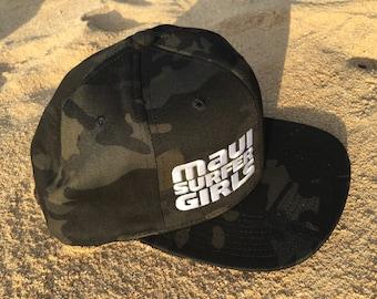 Adult Flatbrim Snapback Hat Black Camo Embroidered Maui Surfer Girls Logo