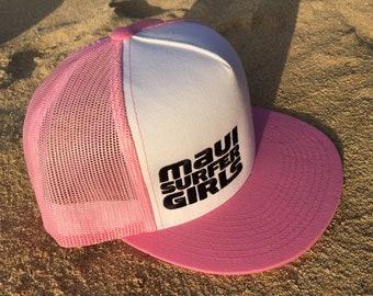 Adult Flatbrim Snapback Hat Pink & Black Mesh Back Embroidered Maui Surfer Girls Logo