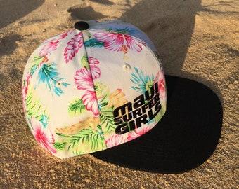 Adult Flatbrim Snapback Hat Pink Tropical Floral Embroidered Maui Surfer Girls Logo