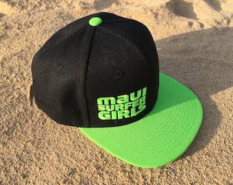 Adult Flatbrim Snapback Hat Neon Green Embroidered Maui Surfer Girls Logo