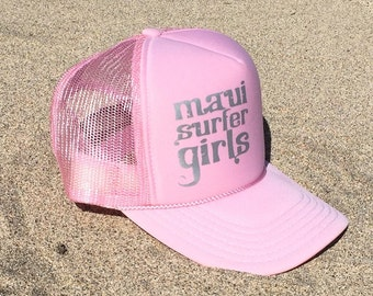 Adult Trucker Hat MSG Tribal Text Pink & Silver