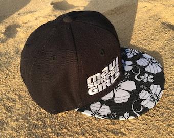 Adult Flatbrim Snapback Hat Black Hibiscus Floral Embroidered Maui Surfer Girls Logo