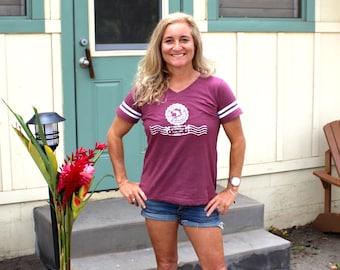 Women's V-neck Football Jersey T-shirt MSG 20th Anniversary Stamp Maui Surfer Girls