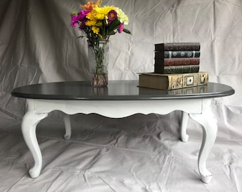Queen Anne Style Coffee Table, Hand Painted And Distressed