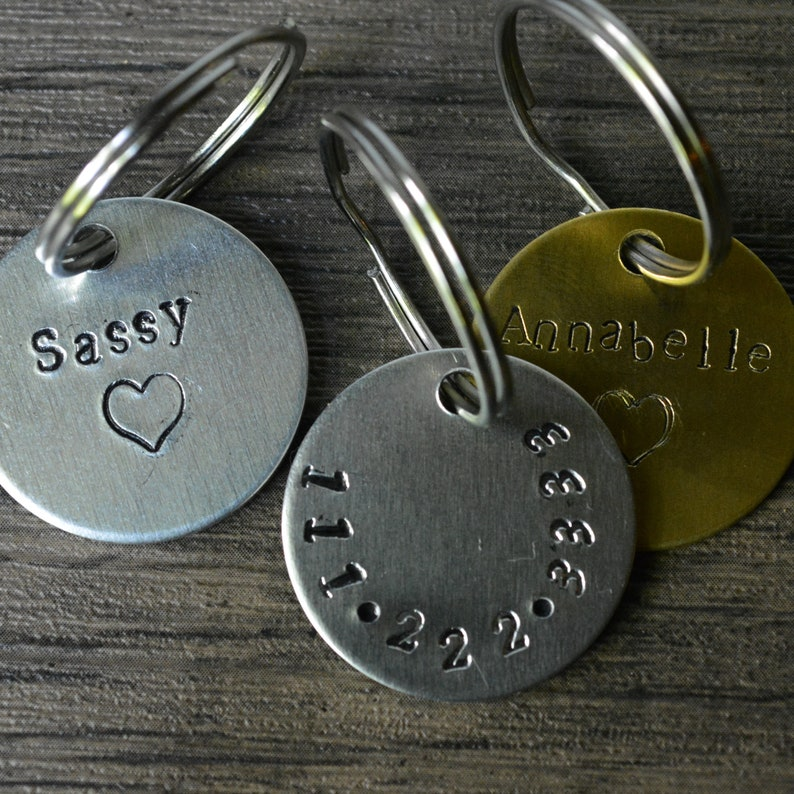 Personalized PetDog Tag brass aluminum dog tag Hand Stamped Pet ID Tag Engraved Dog Tag Dog Collar Tag Hand-stamped Pet Tag