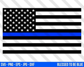 4480deed981 Thin Blue Line Flag SVG Vector - Png Eps Jpg Blue Lives Matter Law  Enforcement Silhouette Studio Cricut Art American USA Cops BLM Police