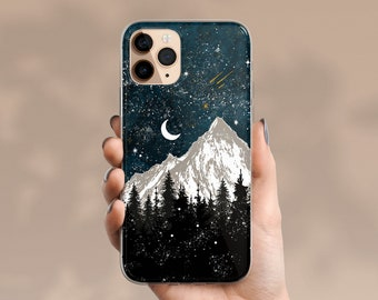PERSONALIZED iPhone 12 Pro Case Clear, iPhone SE 2 Case Celestes Cases© Mountain Art, iPhone 11 Pro Max Case, Winter Mountain iPhone X Case