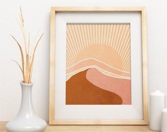 DESERT COLORS Printable Wall Art, Sun Art Print, Bohemian Wall Decor, Boho Art Prints, Celestes Art© Kids Room Decor, Digital Download