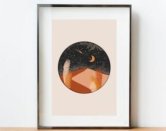 RETRO MOON Wall Art, Print At Home Wall Art, Bedroom Art Prints, Abstract Art Prints, Boho Art Print, DIGITAL Download Celestes Art©