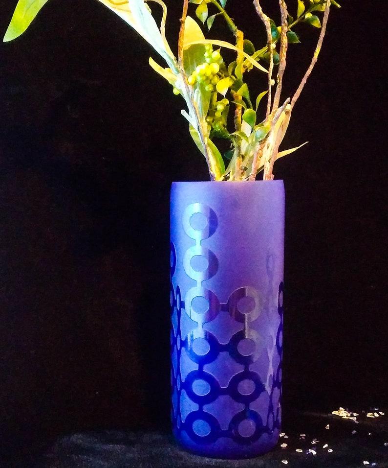 Etched Wine Bottle Vase/Cobalt Blue/Contemporary image 0