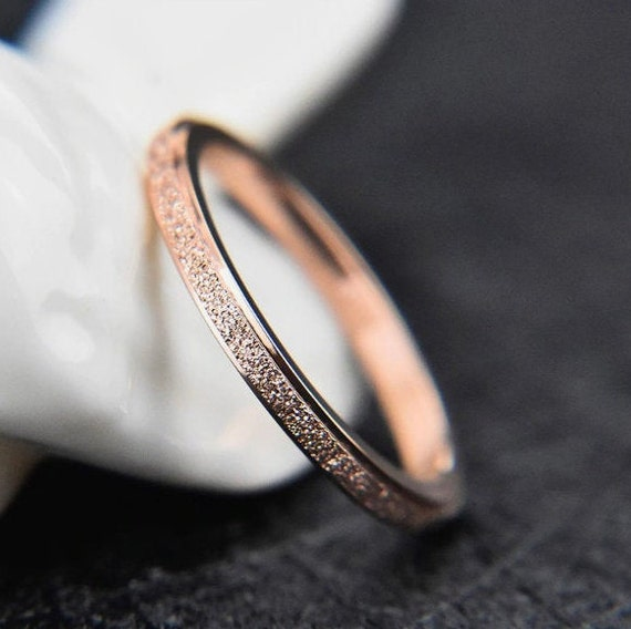 Frosted Titanium Steel Ring Rose Gold Engagement Wedding Rings Jewelry For Women, Gifts For Her