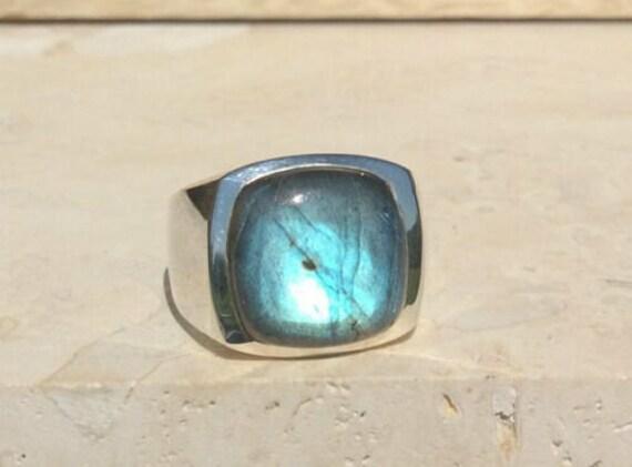 Natural Labradorite Ring For Men in 925 Sterling Silver, Natural Labradorite Gemstone Ring, Blue Fire Labradorite Ring, Gift For Him