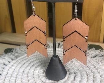 Rose Gold Lightweight Chevron Shaped Laser Cut Boho Chic Wood Earrings