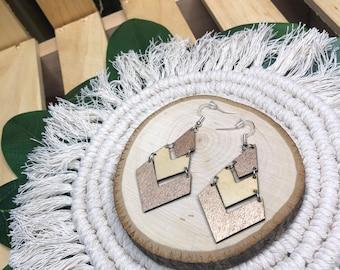 Mixed Finish Wood Chevron Earrings