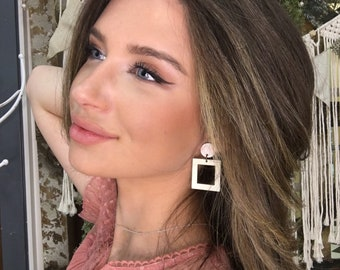 Animal Print Accent Square Wood Earrings