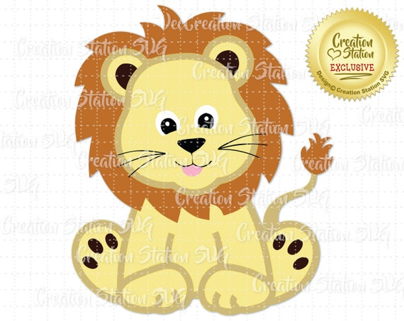 Svg Zoo Baby Lion Cut File For Htv Vinyl And Paper Etsy