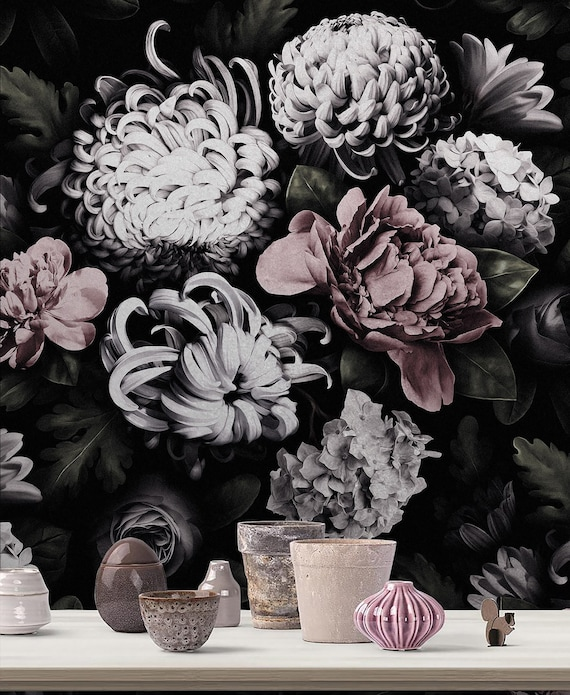 Dark Floral Wallpaper White Flowers On Black Background Flower Bouquet Of сhrysanthemum Peony Custom Size Seamless Pattern