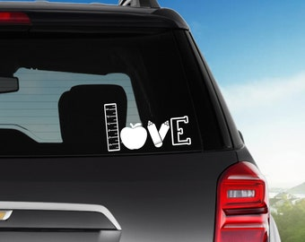 Teacher Love Vinyl Decal, Car decal, Cup decal, Planner Sticker, Window Decal, Gifts Under 10