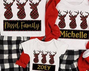 Plaid Reindeer - Custom Matching Family Graphic Tee - Holiday T-shirt - Matching Pajama - Personalized Holiday Shirt