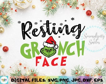 Clipart Resting Grinch Face Svg