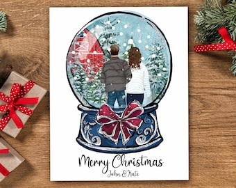Personalized Christmas Family Portrait Illustration Snow Globe - Watercolor Cartoon Drawing with Pets - Couples First Christmas