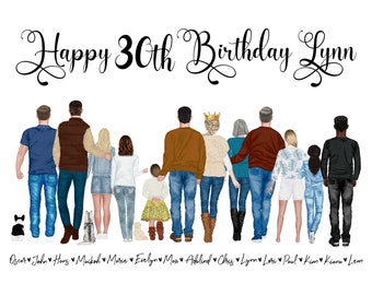 Personalized Birthday Portrait Illustration - Watercolor Cartoon Drawing with Pets - Digital Print Wall Art for Gift, Birthday, Mom