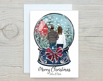 Personalized Christmas Family Portrait Illustration Snow Globe - Digital Print or Cards with Envelope - Couples First Christmas