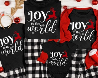 Joy To The World - Matching Family Graphic Tee - Holiday T-shirt - Matching Pajama - Christmas Picture Outfit - Personalized Holiday Shirt