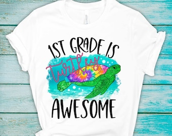 School Is Turtley Awesome - Preschool - 5th Grade - Back to School Shirt - Student or Teacher - Graphic Tee
