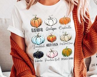 Pumpkin Varieties Graphic Tee - Fall Shirt - Pumpkin Patch Shirt - Autumn - Thanksgiving - Cute Fall Shirt - Glitter