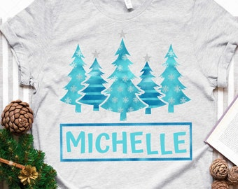 Blue Trees and Snowflakes - Custom Matching Family Graphic Tee - Holiday T-shirt - Matching Pajama - Personalized Holiday Shirt