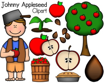 Johnny Appleseed Digital Clipart | Download for Commercial Use | School clipart | teaching clipart | Commercial Use Digital