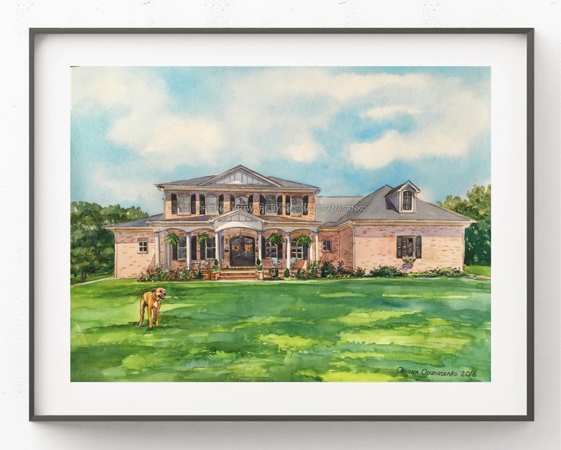 Custom portrait watercolor of your home.