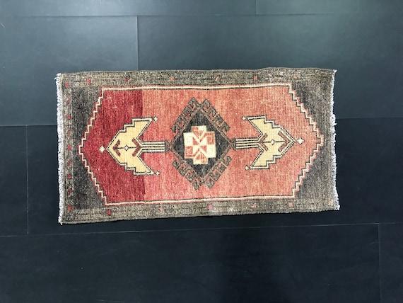 TURKISH DOORMAT RUG,Turkish Small Rug,Vintage Small Rug,Oushak Small Rug,Anatolian Rug,Tribal Rug,Handmade Rug 1.6 x 3 ft