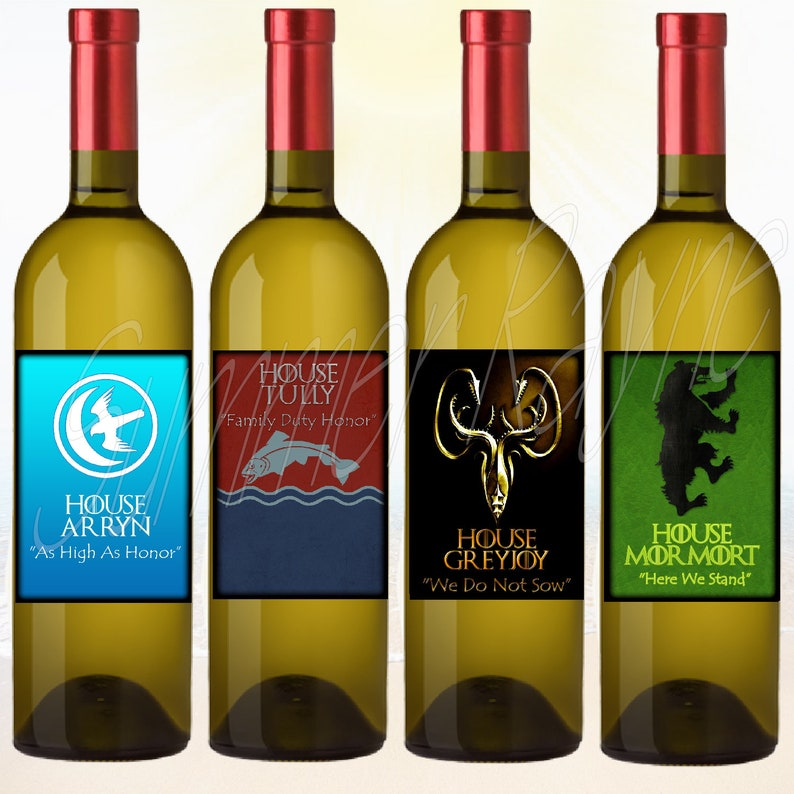 Set of 4 GOT Viewing Party Favors House Arryn Tully Greyjoy Mormort Games of Thrones GOT Wine Bottle Labels