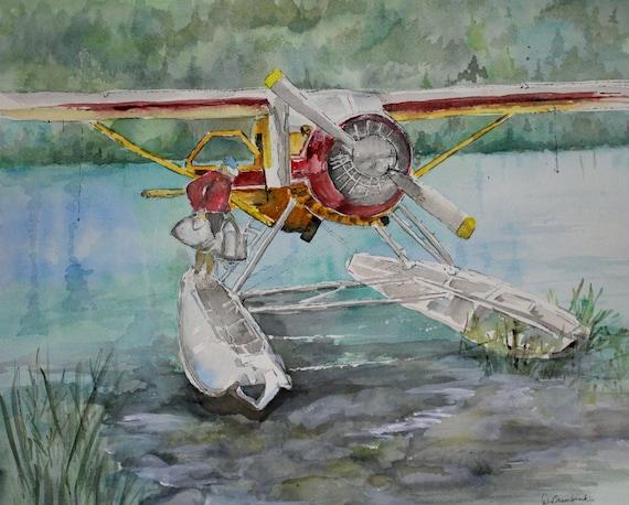 Original Watercolor Alaska Float Plane /& Fisherman Hand Signed Lake Decor