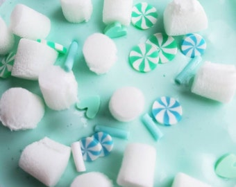 Shamrock Shake Glossy Slime Scented Slime with Foam Marshmallows