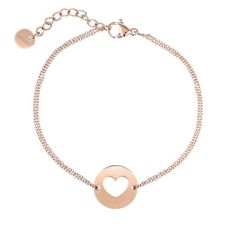 Rose Gold Heart Diamond cut Chain Bracelet aaina /& co
