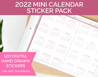 120 Unique Digital Planner Stickers for Goodnotes - 2022 MINI CALENDAR STICKERS - for iPad by bloom daily planners