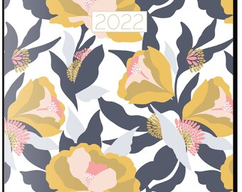 2022 Monthly Planner, Mustard Floral