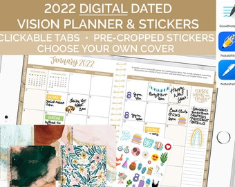 Digital 2022 Vision Planner - Gold Interiors - GoodNotes, Notability, Noteshelf and OneNote Dated iPad Agenda from bloom planners