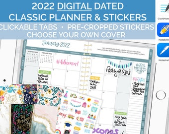 Digital 2022 Classic Planner - Teal Interiors - GoodNotes Notability Noteshelf and OneNote Dated iPad Agenda from bloom daily planners
